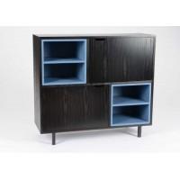 Aparador salón DM y patas metal negro y azul 2 estantes y 2 puertas 100x35x90h cm