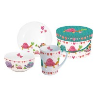 Set de desayuno taza+ bowl+ plato Turttles in Love PPD