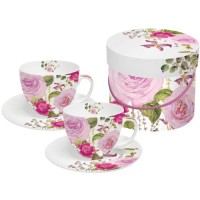 Set 2 tazas cappuccino con plato decoradas rosas Princess Rose PPD 20cl