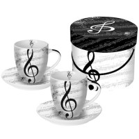 Set 2 tazas Espresso con plato decoradas I Love Music PPD 10cl x 2unidades