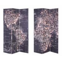 Biombo negro 3 paneles Mapa Mundi 120x2,5x180 cm