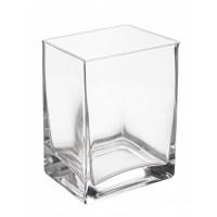 Jarrón florero rectangular cristal 10x8x14h cm