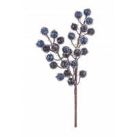 Rama navidad bolitas azules escarchadas 10x10x28h cm