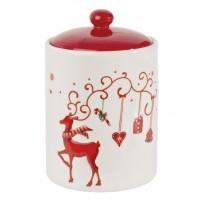 Bote con tapa navideño cerámico crema y rojo reno 10,7x16,20h cm