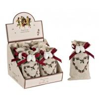 Saquito de tela algodón con decoración yeso Piñas fragancia pino Navidad 7x14h cm