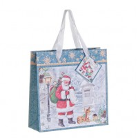 Bolsa regalo papel azul estampado Papa Noel Holly 21x6xh21 cm