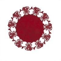 Mantel individual redondo fieltro rojo campanas navidad 35cm