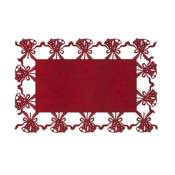 Mantel individual rectangular fieltro rojo campanas Navidad 45x30cm
