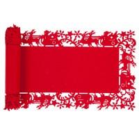 Camino de mesa fieltro rojo trineo con renos 30x120cm