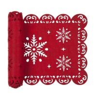 Camino de mesa fieltro rojo Copos de Nieve 30x120cm