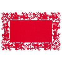 Mantel individual rectangular fieltro rojo Trineo 45x30cm