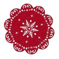 Mantel individual redondo fieltro rojo copo de nieve 25cm