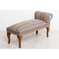 Pie de cama patas madera lino rayas azules y tostadas 107x45x60 cm