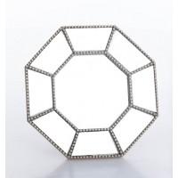 Espejo octágono resina champagne marco fino arabesco pequeño 21x22cm