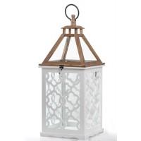 Farol madera calada blanca y natural con cristal grande 30x30x70h cm