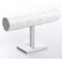 Soporte pulseras textil brocado blanco 24x7x14 cm
