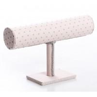 Soporte pulseras textil rosa lunares grises 24x7x14 cm