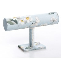 Soporte pulseras textil azul flores blancas 24x7x14 cm
