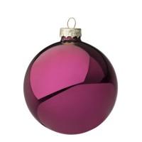 Bola árbol de Navidad cristal lisa violeta brillante 8 cm