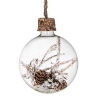 Bola árbol de Navidad cristal con nieve, piña y ramas nieve escarchada en el interior 8cm