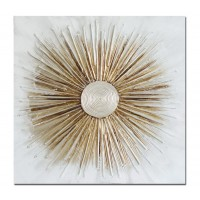 Lienzo cuadro abstracto sol dorado relieve 80x3x80 cm