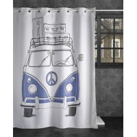 "White shower curtains ""Pink flamingos"""