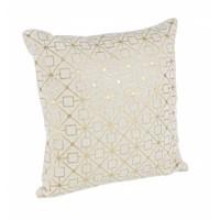 Cojín geométrico rombos y cuadrados blanco y dorado con relleno 40x40cm