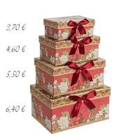 Caja cartón roja estampado navideño flores y lazo 20x14x10h cm