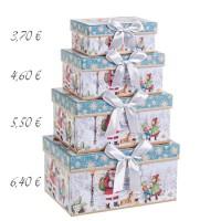Caja cartón azul y blanca estampado navideño Papa Noel y lazo 20x14x10h cm