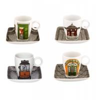 Juego 4 tazas café con plato porcelana Alma de Lisboa de Vista Alegre
