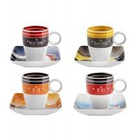 Jeu 4 tasses de café en porcelaine décor géométrique