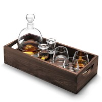 Set cristal whisky Islay con bandeja Walnut 44 cm
