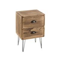 Mesita de noche madera paulonia y patas metálicas con 2 cajones 35x30x54cm