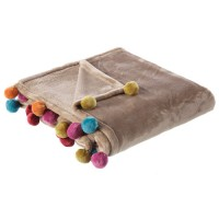 Manta plaid Rainbow beige con pompones colores 130x160cm