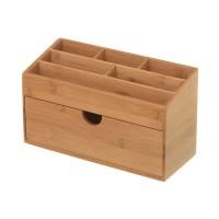 Organizador cosméticos madera bambú 6 dptos + 1 cajón 25,50x13x15 cm