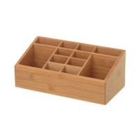 Organizador cosméticos madera bambú 12 dptos 25,40x13x10 cm