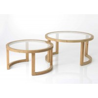 Mesa baja redonda madera y cristal grande