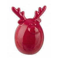 Figura navideña cerámica Reno rojo 7,5x6,2x9,6h cm