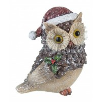Figura navideña Buho en madera 13x9x14,5h cm