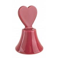 Campanilla cerámica roja Corazón 7x11h cm