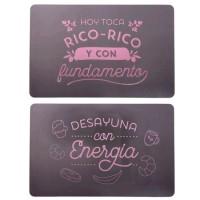Mantel individual rectangular negro letras rosas 2 frases 28x43 cm