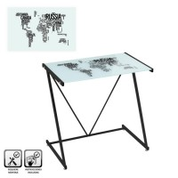 Mesa escritorio cristal templado estampado Countries World blanco y negro 80x50x79cm