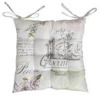 Cojín para silla cuadrado con estampado letras y flores 45x45x5 cm