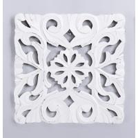 Cuadro panel madera tallado cuadrado blanco decapado 30x30 cm
