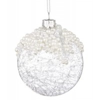 Bola árbol de Navidad cristal transparente con perlas 8 cm