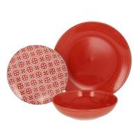 Vajilla gres y porcelana roja y blanca Agadir Tognana 18 piezas