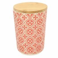 Bote redondo de plástico rojo y blanco con tapa bambú hermética Agadir Tognana 71 cl 10,5x14h cm