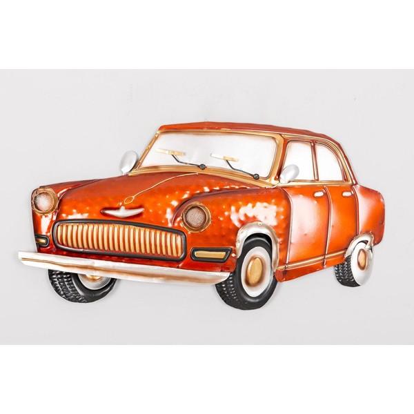 Placa metálica forma de coche naranja 70,5x5x36,2 cm