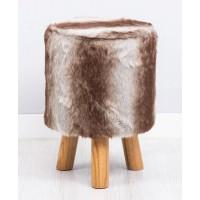 Taburete puff redondo patas madera y textil pelo potro 30x43h cm