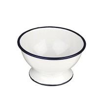 Bowl con pie blanco borde azul de acero esmaltado vitrificado Ø12 cm